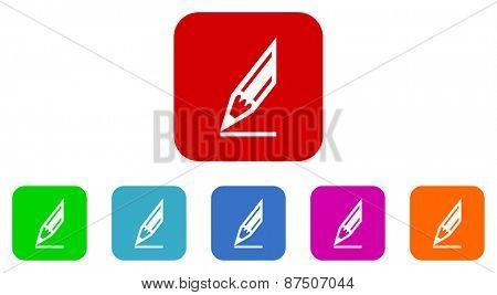crayon vector icon set