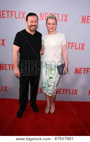 LOS ANGELES - FEB 8:  Ricky Gervais, Jane Fallon at the Netflix's