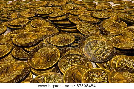 Composition In The Form Of Mountains Scattered Copper Coins