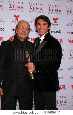 LOS ANGELES - SEP 27:  Edward James Olmos, Lou Diamond Phillips at the 2013 ALMA Awards - Press Room at Pasadena Civic Auditorium on September 27, 2013 in Pasadena, CA