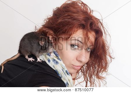 Girl With A Pet Rat
