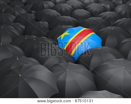 Umbrella With Flag Of Democratic Republic Of The Congo