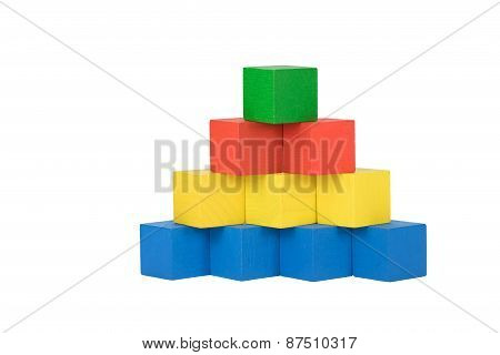 Front View Of The Color Wooden Pyramid