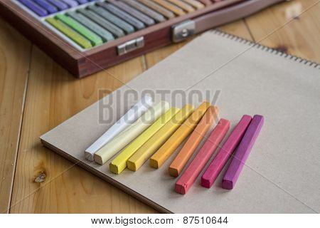 Colorful Pastels And A Sketchbook