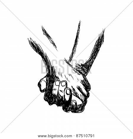 Vector Illustration Handdrawn Holding Hands