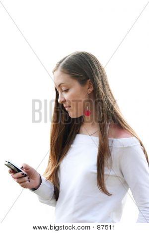Mädchen Senden von Sms - weiß