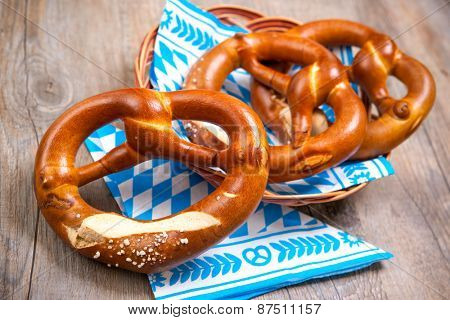 Group of Bavarian pretzels on napkin