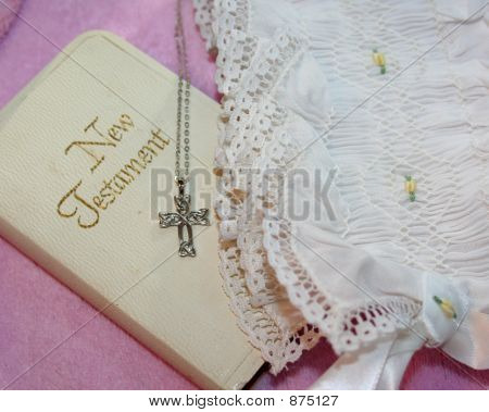 Christening Bonnet & Bible