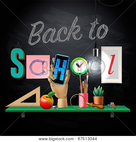 Back to school template with schools workspace supplies