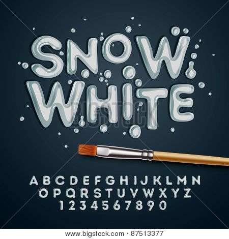 Snow white alphabet and numbers