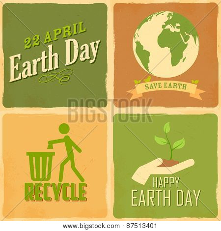 illustration of Earth Day background in retro style