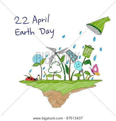 illustration of Earth Day concept for a healthy future