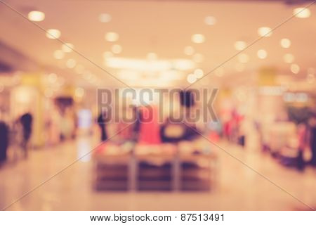 Blurred Image Of People In Shopping Mall With Bokeh