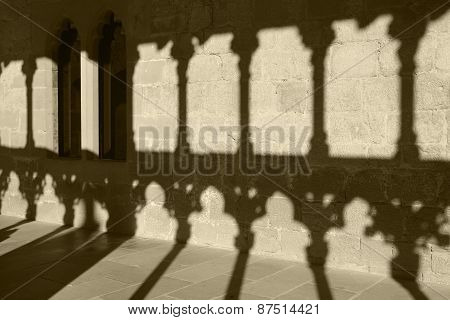Romanesque Arcade With Columns And Shadows In Olite. Navarra, Spain