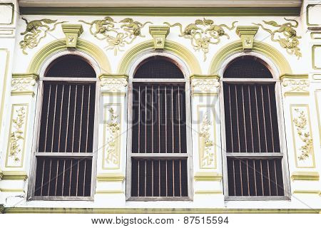Vintage Window Or Sino-portuguese Style In Phuket, Thailand