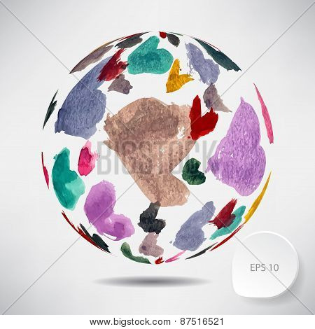 Abstract background with a ball of colored watercolor hearts