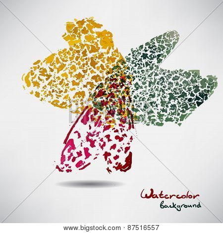 Abstract background with a figure of colored watercolor hearts
