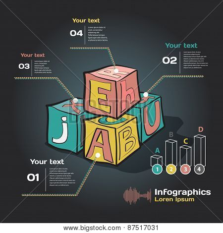 infographics on a dark background with baby cubes on education