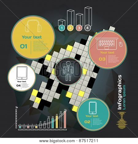 Set for infographics on a dark background with abstract three-di