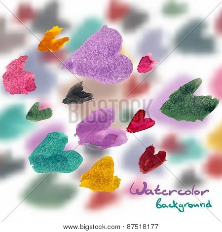 Abstract Watercolor Background Of Colored Hearts