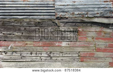 Grungy Barn Wall Made With Timber ,metal And Cloth