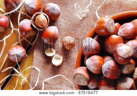 Group Of  Hazelnuts On A Wooden Table Top View