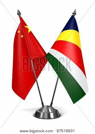 China and Seychelles - Miniature Flags.