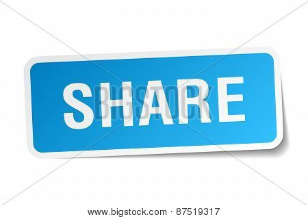 Share Blue Square Sticker Isolated On White