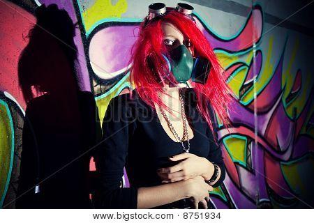 Redhead Girl In Gasmask