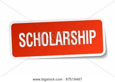 Scholarship Red Square Sticker Isolated On White