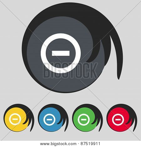 Minus, Negative, Zoom, Stop Icon Sign. Symbol On Five Colored Buttons. Vector