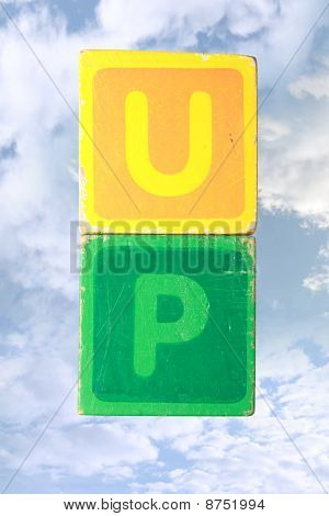 Up In The Clouds Toy Play Block Letters With Clipping Path