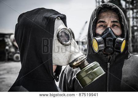 Vietnamese men in gas-masks