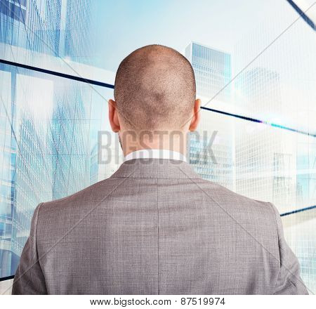 Businessman toward his future