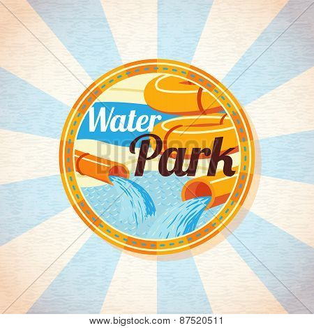 Water park tubes with pool. Retro background