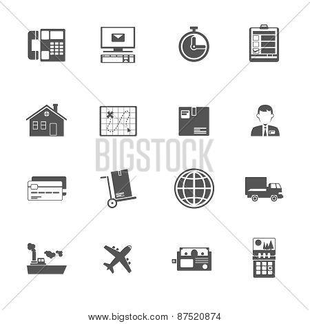 Black and white logistic service icon.