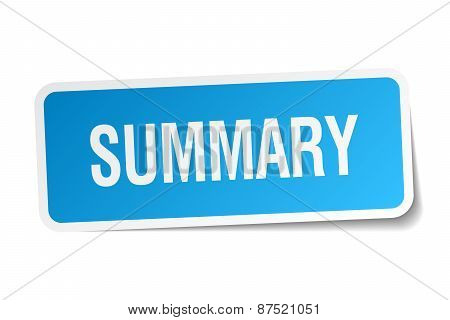 Summary Blue Square Sticker Isolated On White