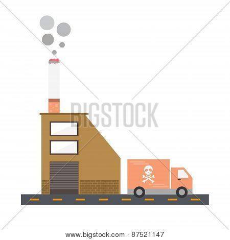 Isolated cartoon cigarette factory delivery flat design