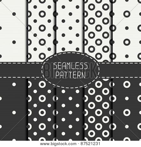 Set of  geometric seamless polka dot pattern with circles. Collection of wrapping paper. Paper for s