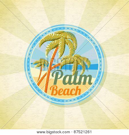 Summer palm beach retro background. Vector