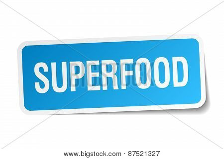 Superfood Blue Square Sticker Isolated On White