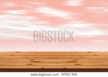 Wood Floor stripes and pink sky background