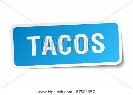 Tacos Blue Square Sticker Isolated On White