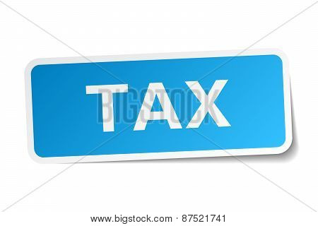 Tax Blue Square Sticker Isolated On White