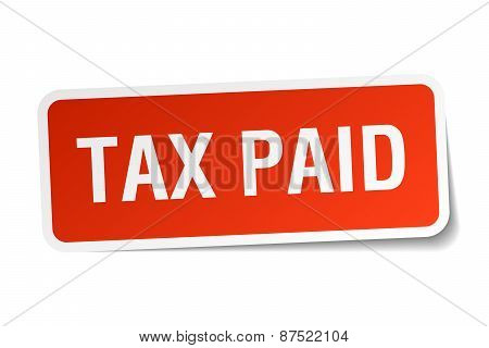 Tax Paid Red Square Sticker Isolated On White