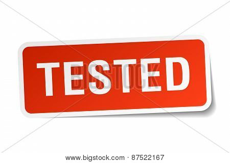 Tested Red Square Sticker Isolated On White