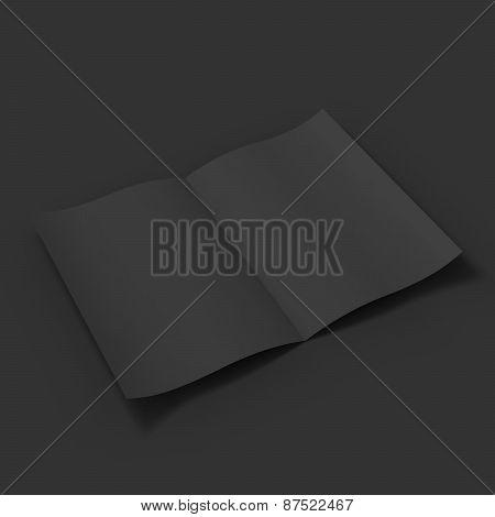 Black blank magazine spread. Business mockup template.