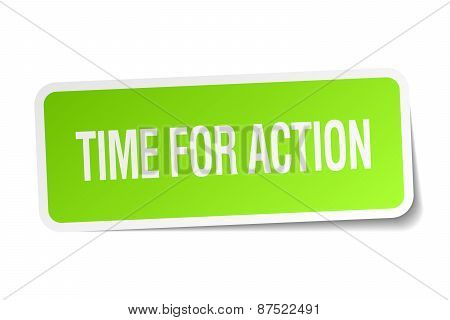 Time For Action Green Square Sticker On White Background