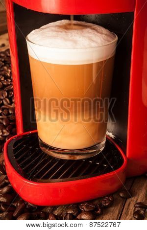 Red Vintage Cappuccino Coffee Machine