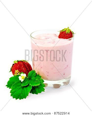 Milkshake with strawberry and leaf
